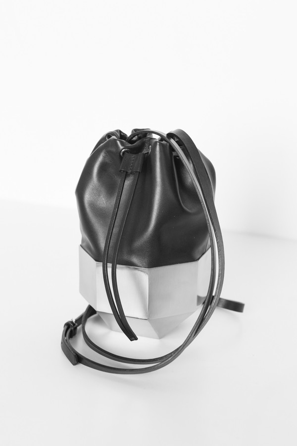Persephoni Leather/Steel 02 Drawstring Bag