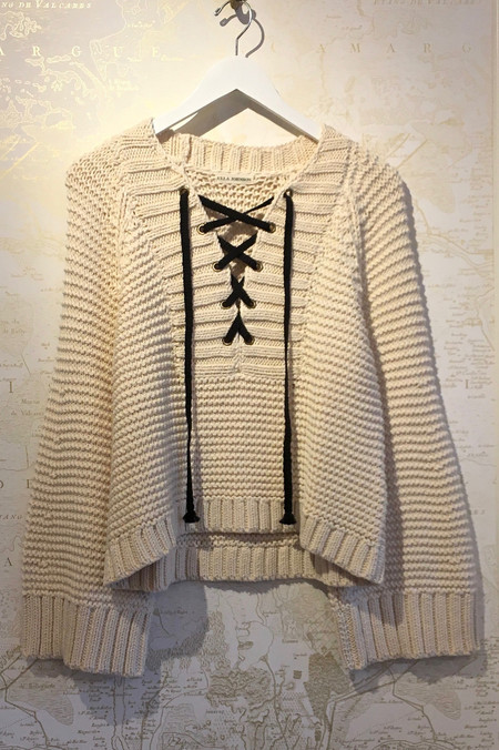 Ulla Johnson Cotton Lace Up Front Sweater