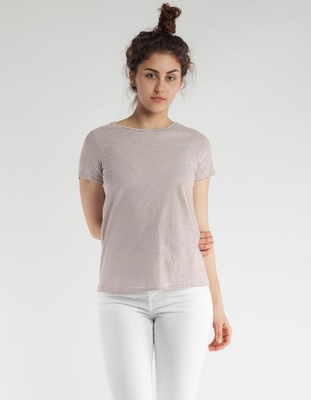 Filippa K Organic Cotton Stripe T-Shirt Off White Mulberry Stripe