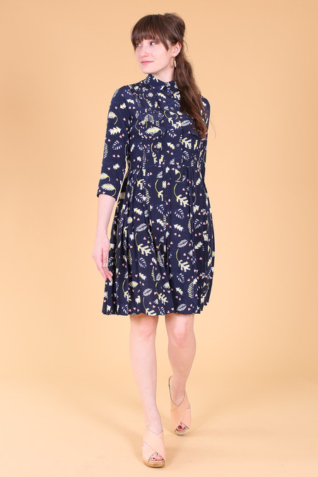 Chinti and Parker Jungle love pleated dress in navy multi