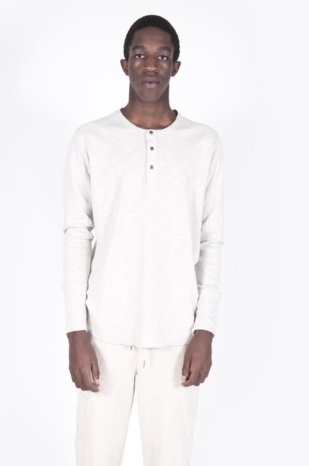 Wings + Horns 1x1 Slub Long-Sleeve Henley Heather Ash