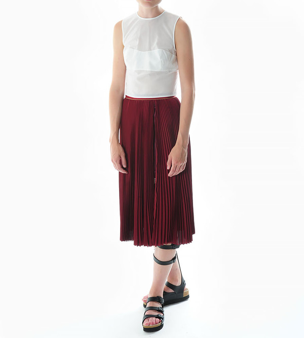 Sacai Luck Pleated Side Slit Skirt with Lace Underlay