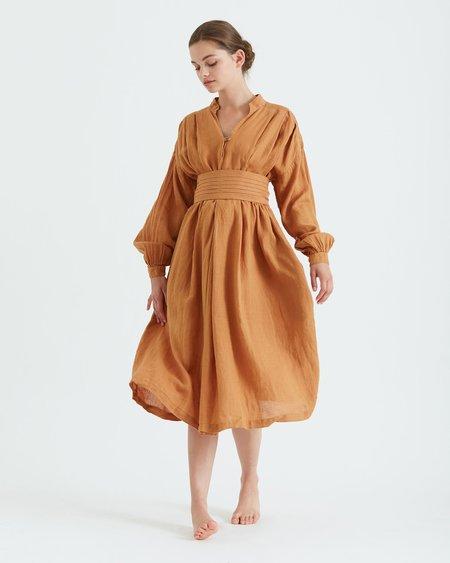 Black Crane Poet Dress - Rust