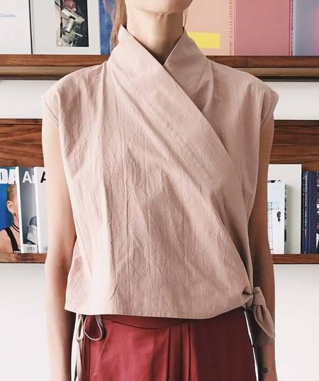 Priory Poplin Voy Wrap Top - Dusty Pink