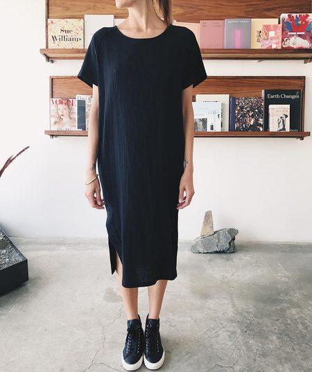 Priory Cotton Gauze Tage Dress - Black