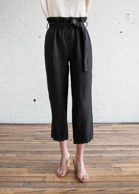 Black Crane Burlap Pants Black