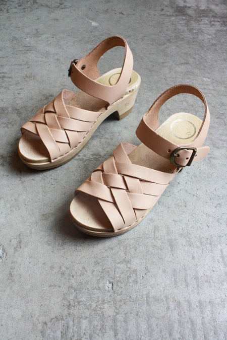 No. 6 Huarache Clog on Mid Heel in Naked