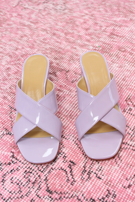Maryam Nassir Zadeh MNZ Lauren Slide Lavender Patent Leather