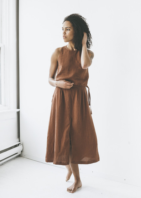 First Rite - Pleated Skirt in Clay