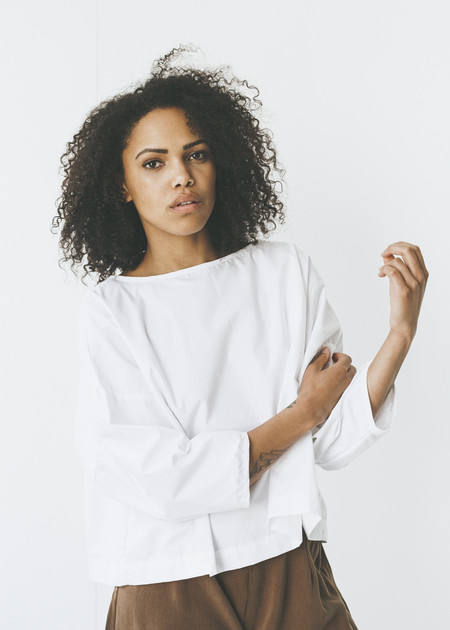 Lloyd  - Tie Back Top in White Cotton