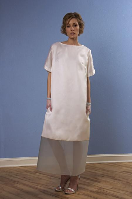 """Opal Heart """"Gloss"""" Short Sleeve Long Silk Dress"""