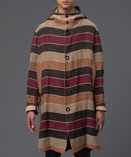 THADDEUS O'NEIL - Striped Hoodie Trench - Multi-stripe