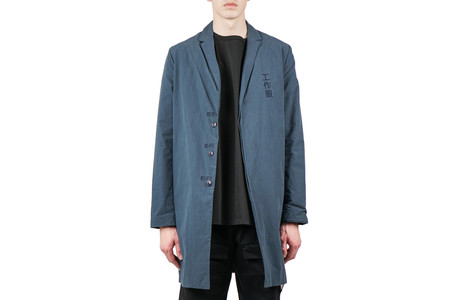 Purlicue EMBROIDERY OVER COAT - NAVY