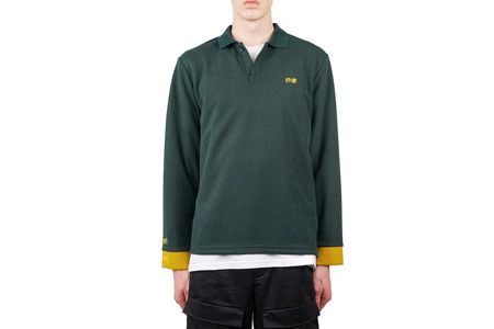 Purlicue LONG SLEEVE POLO - FOREST GREEN