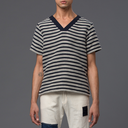 THADDEUS O'NEIL - V-Neck Top - Navy Stripe