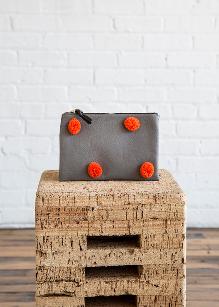 Kempton & Co Pom Pom Pouch Grey/Orange