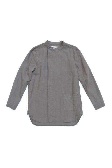 Unisex SEEKER Asymmetric Button Up in Ash Grey