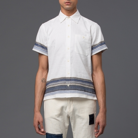 KRAMMER & STOUDT Dillon Short Sleeve Shirt - White with Blue Stripe