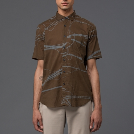 DDUGOFF - Henry Short Sleeve Shirt - Drab with Crystal Blue Arteries Print
