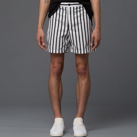 CARLOS CAMPOS - Cargo Pocket Shorts -­ Black and White Stripe