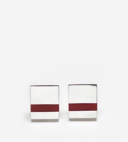 Luz Ortiz Carnelian Inlay Earrings - Silver/Red