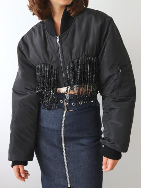 Ashley Williams Beaded Bomber Jacket - Black