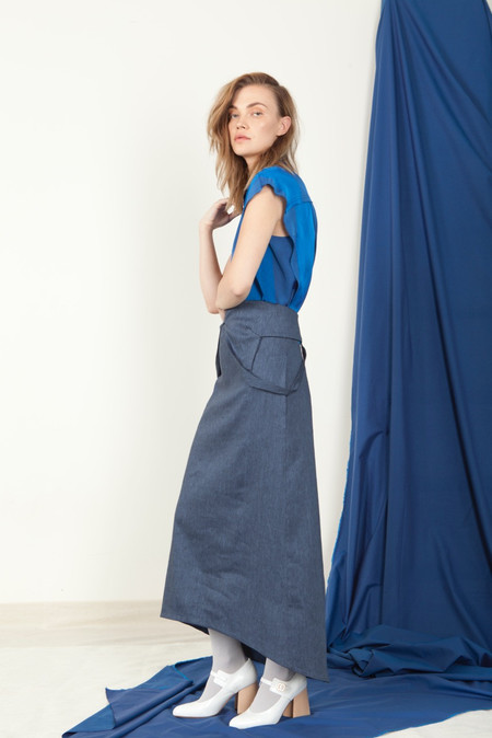 SCHAI Open V-Neck Dress - Natsu Denim