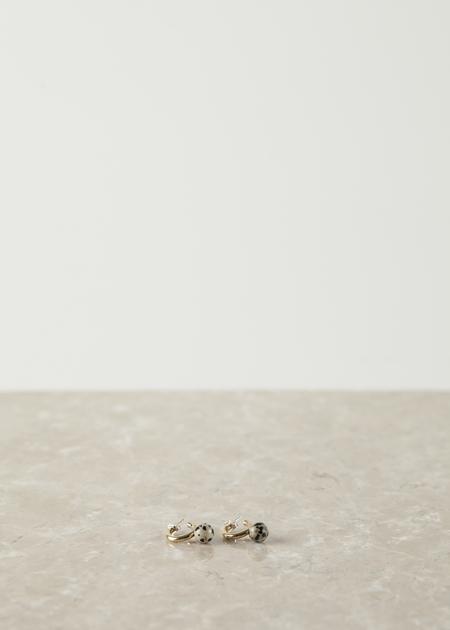 Quarry Small Asha Hoop - brass/dalmation jasper