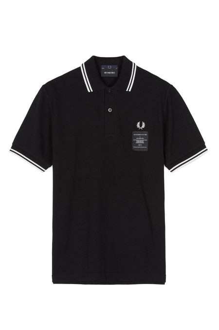 Fred Perry Printed Twin Tip Pique Shirt - Black