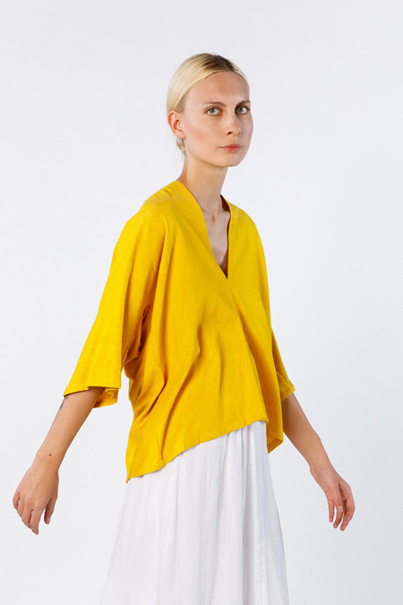 Miranda Bennett In Stock: Muse Top, Silk Noil in Marigold