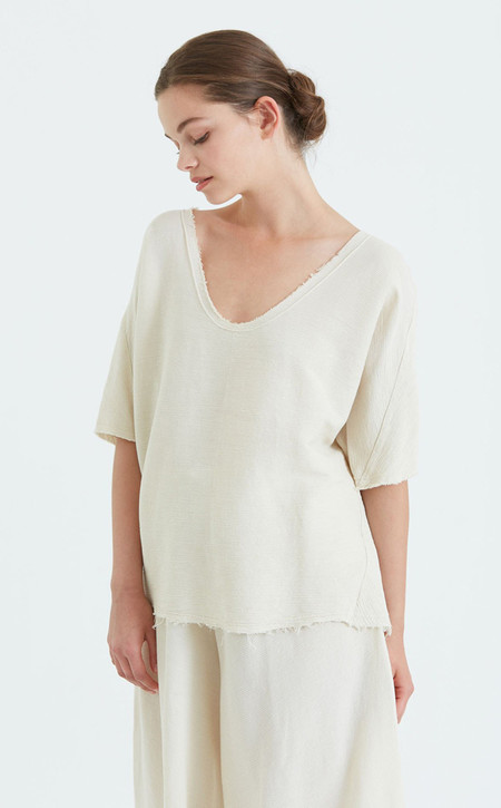 Black Crane Origami Top | Beige