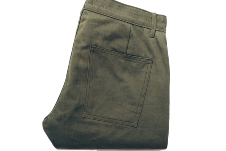 TAYLOR STITCH OLIVE DRAB HERRINGBONE CAMP PANT
