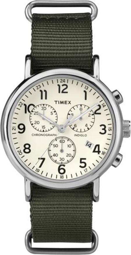 Timex Weekender Chrono Cream Dial Green Strap