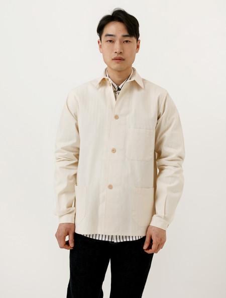 Frank Leder Mens Cotton Shirt Jacket Cream