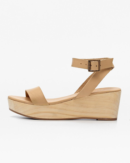 Nisolo Sarita Wooden Wedge Sandal Beige 5 for 5