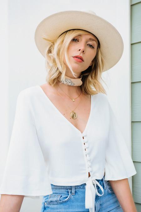 BETWEEN TEN Maddy Tie Front Top - White