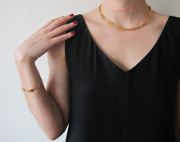 Gold bracelet/necklace set