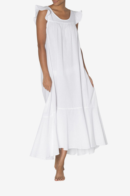 The Sleep Shirt Full Length Flounce Nightie White Seersucker