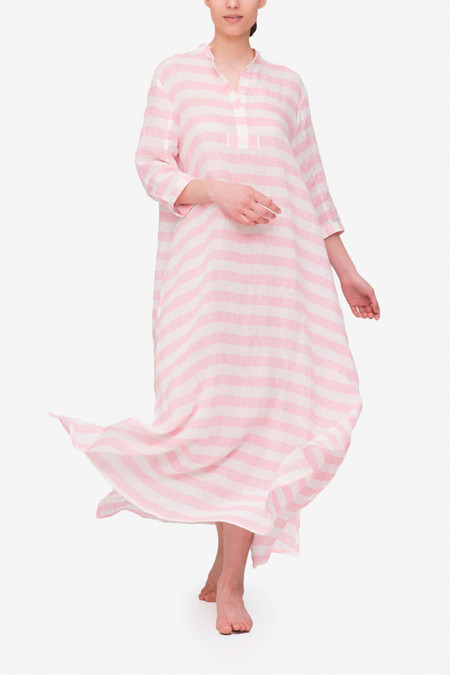 The Sleep Shirt Full Length Sleep Shirt Pink Horizontal Stripe