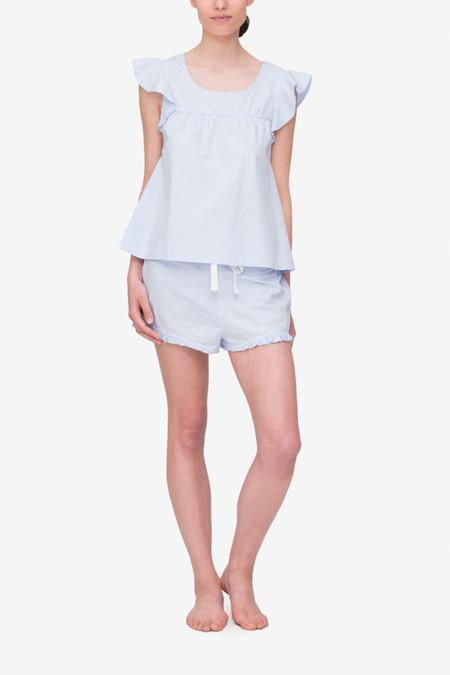 The Sleep Shirt Set Flounce Top & Ruffle Short - Blue Cotton Stripe