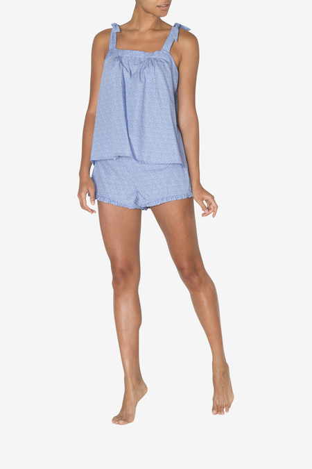 The Sleep Shirt Set - Tie Top & Ruffle Short Tiny Blue Floral