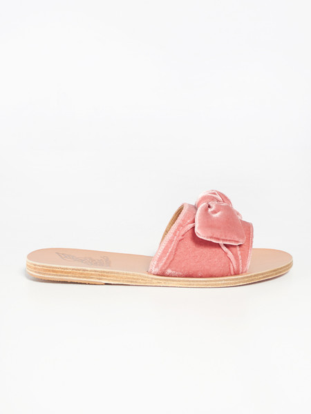 Ancient Greek Sandals Taygete Bow - Velvet Dusty Pink