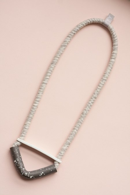 YYY White/Gray Bent Half Moon Necklace
