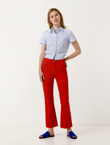 MM6 Maison Margiela Cropped Flared Red Jeans