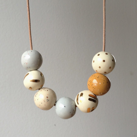 Shayna Stevenson - 7 Bead Speckle and Gold Necklace