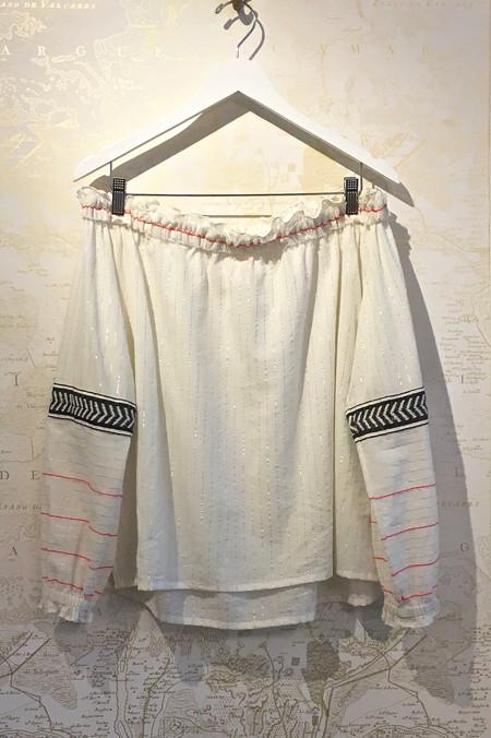 Lemlem 'Zana' Off the Shoulder Top with Silver Stripe