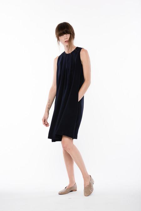 Wolcott : Takemoto Silk Cooper Dress in Navy