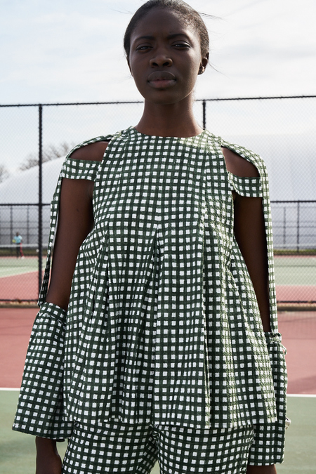 WILLIAM OKPO BANDELE TOP - GINGHAM PRINT