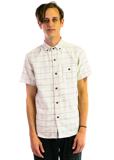 3Sixteen Short Sleeve Workshirt - White Windowpane Flannel