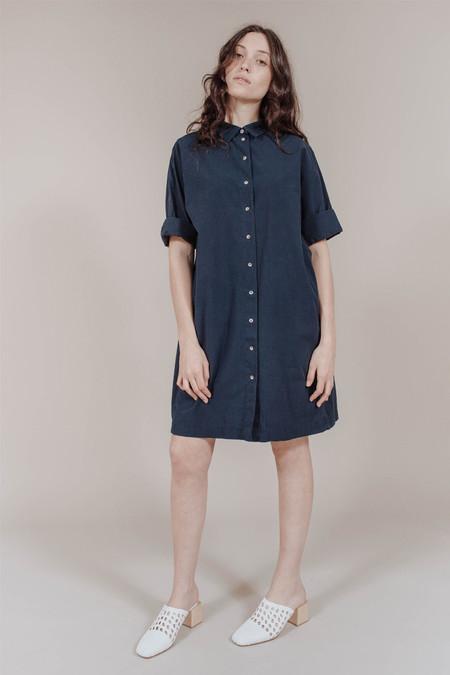 M.i.H. Jeans Roller Shirt Dress in Navy